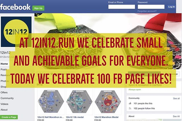 12in12 At 12in12.run we celebrate small and achievable goals for everyone. Today we celebrate 100 fb page likes!